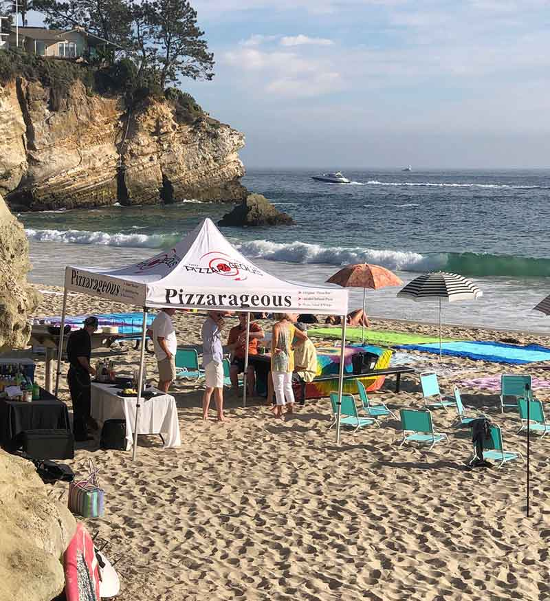 pizza catering on beach